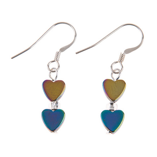 Carrie Elspeth Rainbow Hearts Haematite Earrings