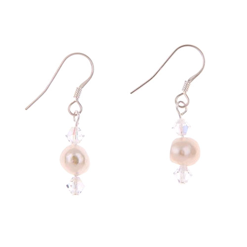 Carrie Elspeth Soft Pearl and Crystal Earrings