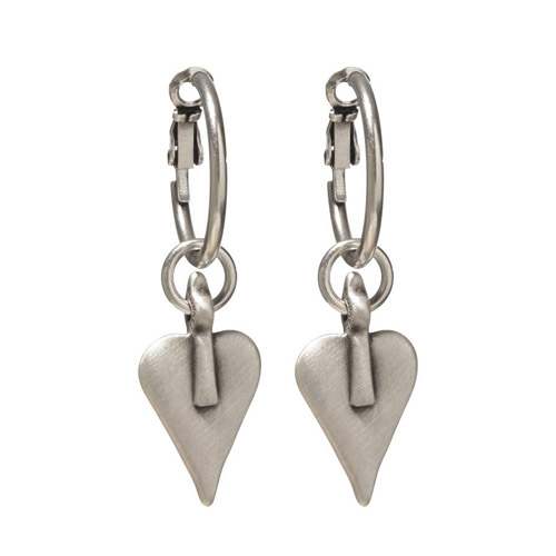 Danon Signature Heart Hoop Earrings