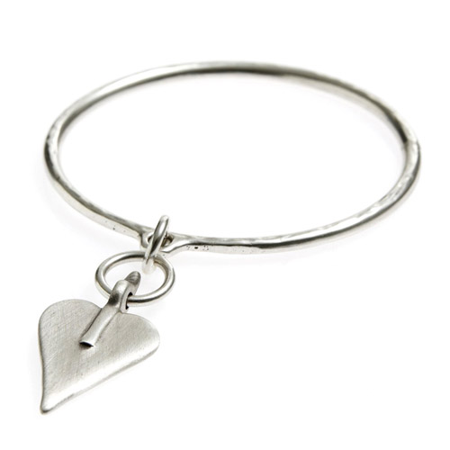 Danon Signature Heart Silver Bangle
