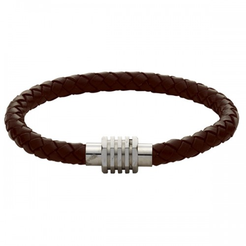 Gaventa Men's Plaited Leather Bracelet in Brown