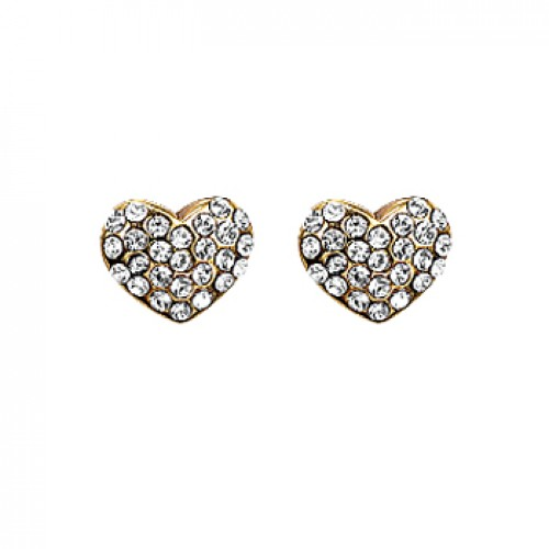 Pilgrim Gold Pave Heart Stud Earrings