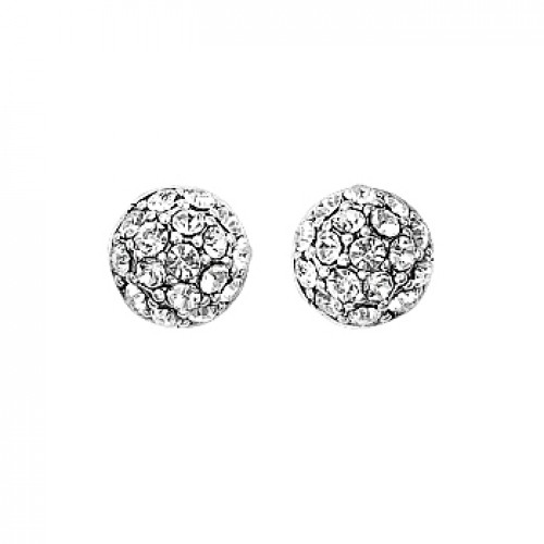 Pilgrim Silver Crystal Ball Earrings