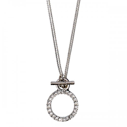 Pilgrim Silver 2 in 1 Crystal Circle Necklace