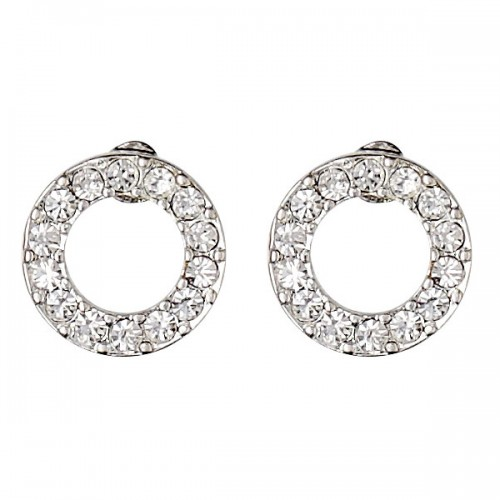Pilgrim Silver Crystal Circle Earrings