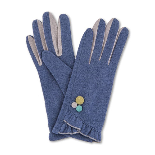 Powder Isabella Wool Gloves in French Navy