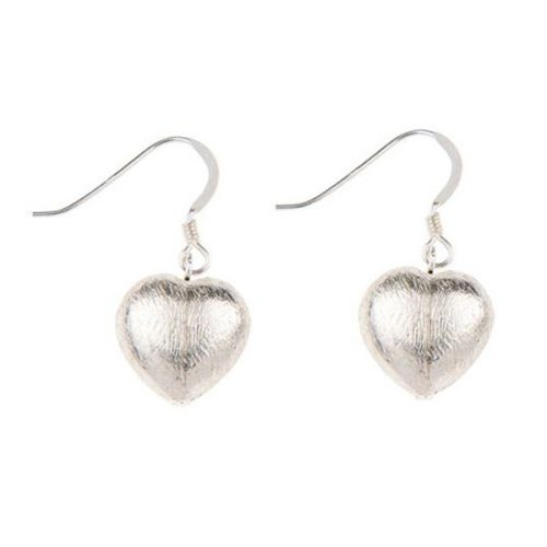 Carrie Elspeth Brushed Silver Heart Earrings